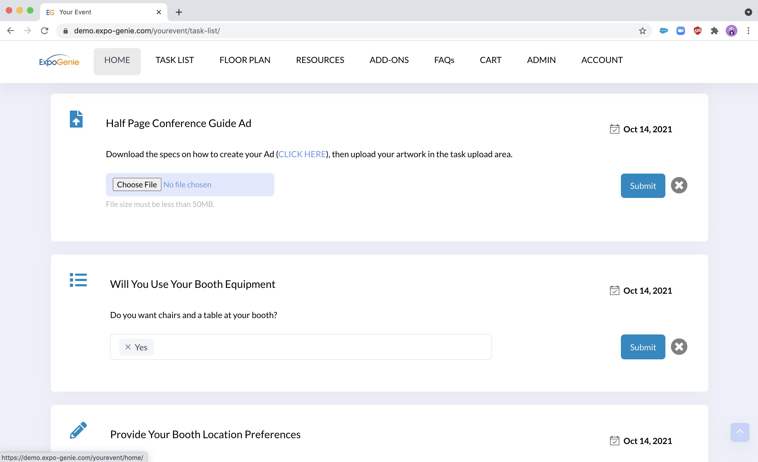 Role based task list - Exhibitors can easily upload show assets via a task list.