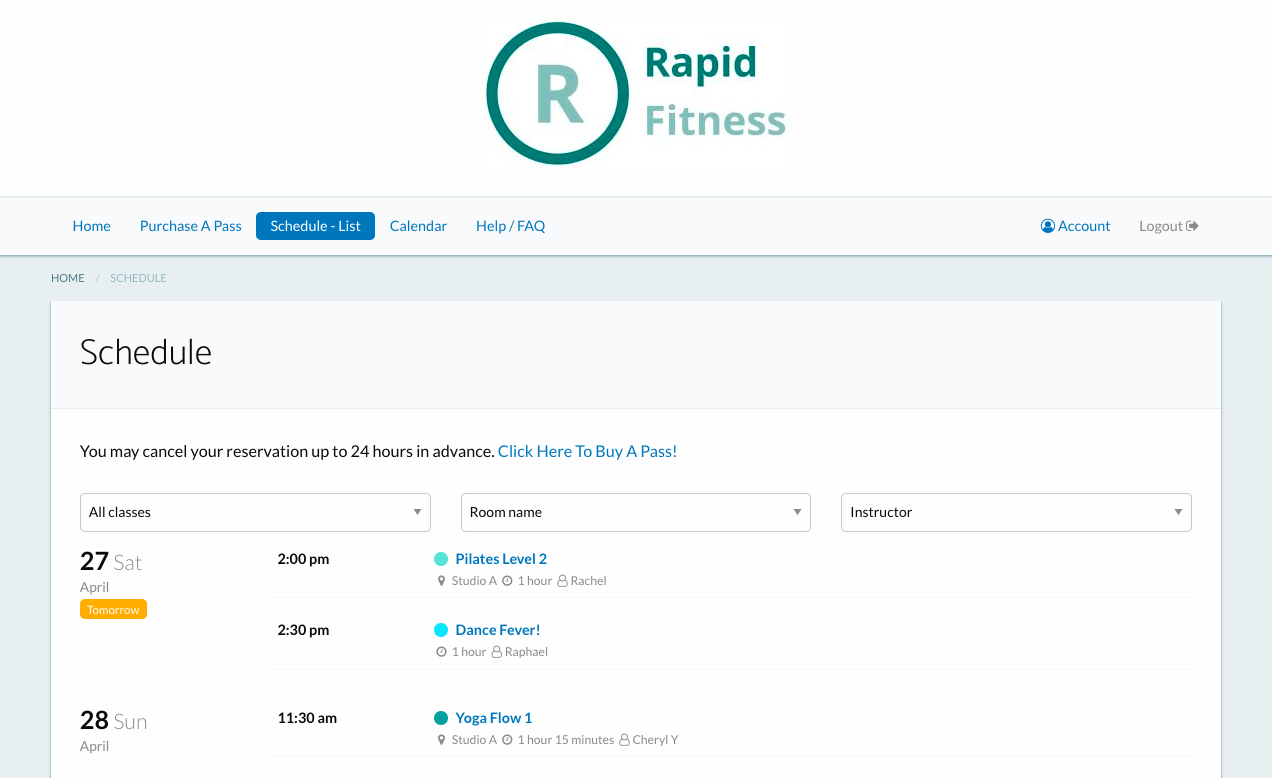 Punchpass screenshot: Your customers can see your schedule online as a list or calendar view. You can embed your class schedule right on your website for seamless integration at no extra charge :)
