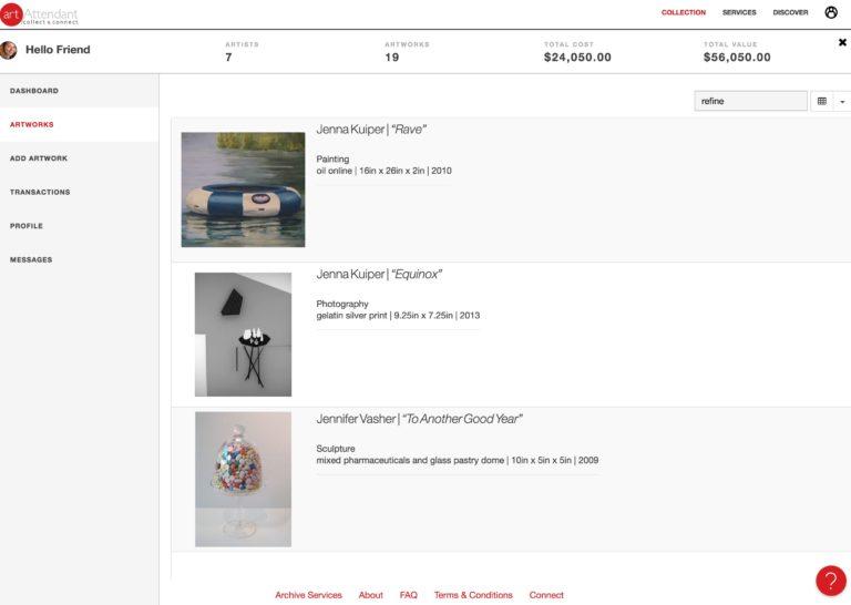 artAttendant visual/list view