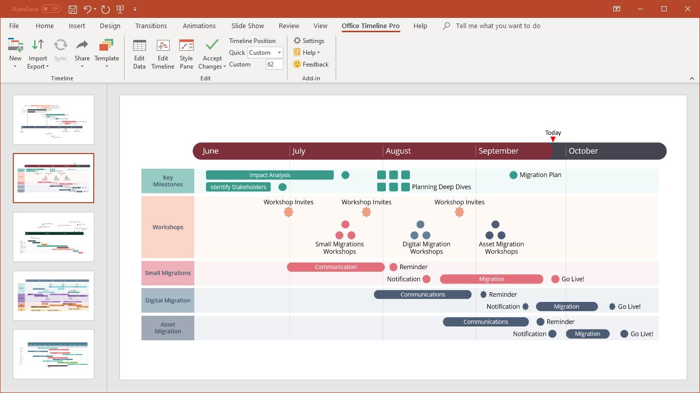 Office Timeline screenshot: Office Timeline presentations