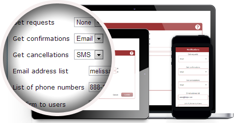 Configure notifications and reminders to send via SMS or email and decide which events warrant notifications