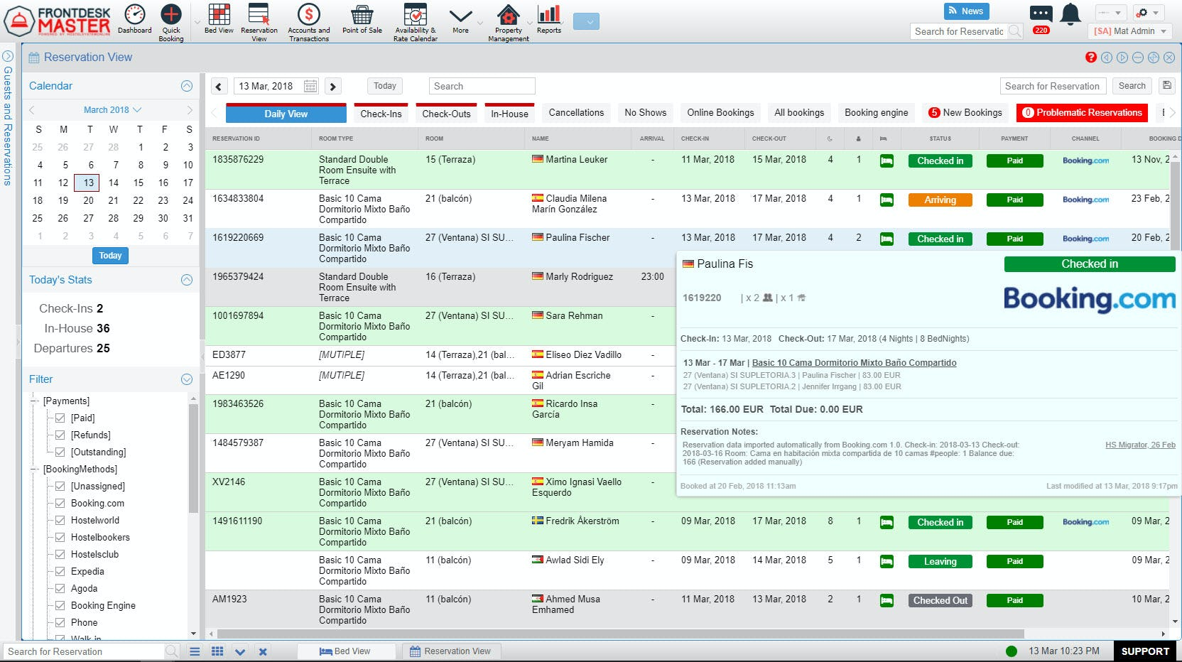 FrontDesk Master Software - Reservation view