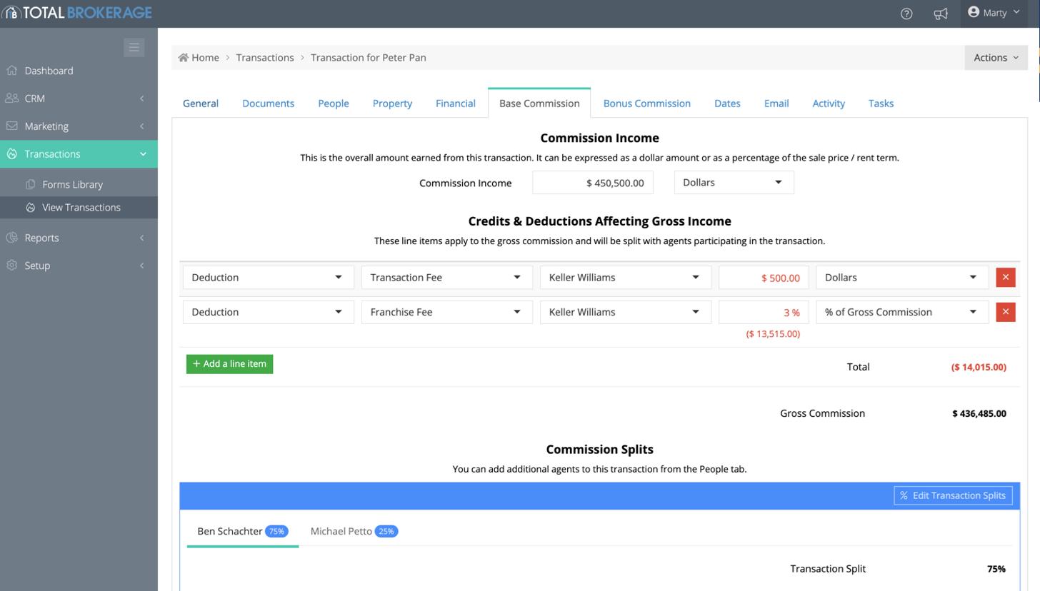 TotalBrokerage Software - TotalBrokerage commissions