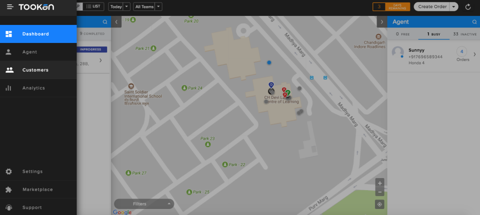 Tookan screenshot: Tookan dashboard