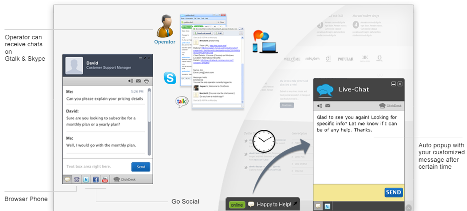 Live chat interface