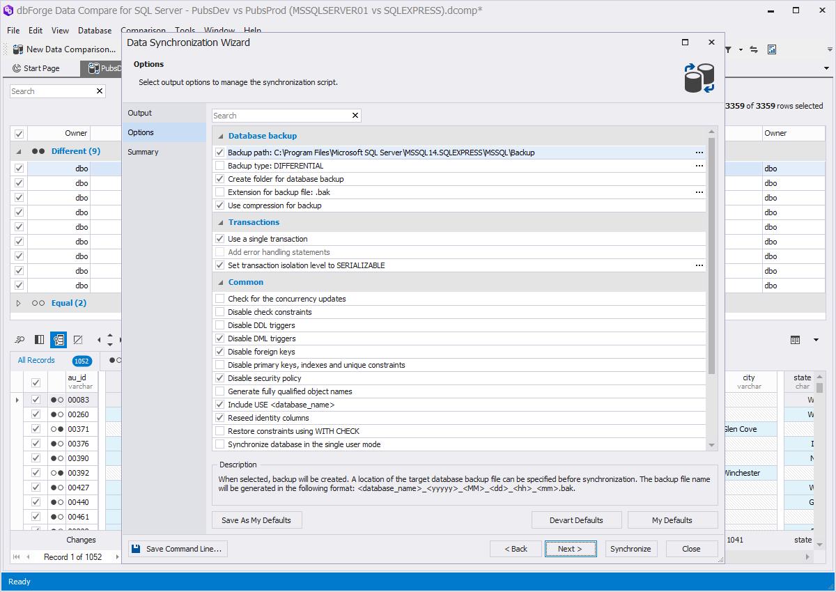 dbForge Data Compare for SQL Server synchronization screenshot