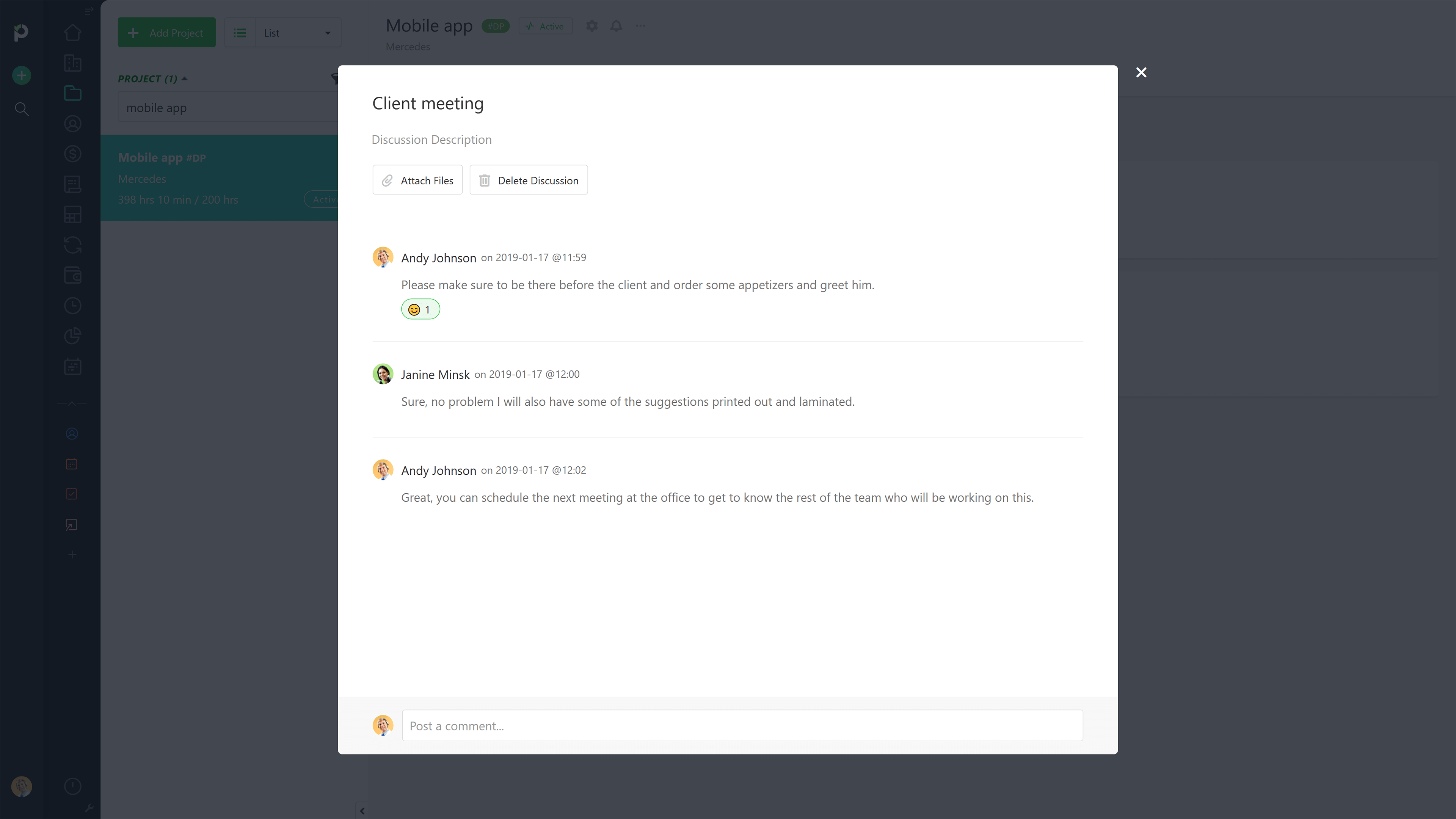Paymo Software - Real-time Comments and Discussions
