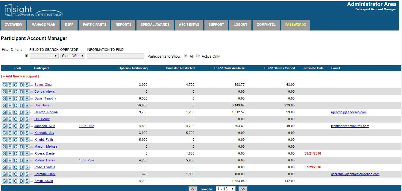 OptionTrax screenshot: OptionTrax insights