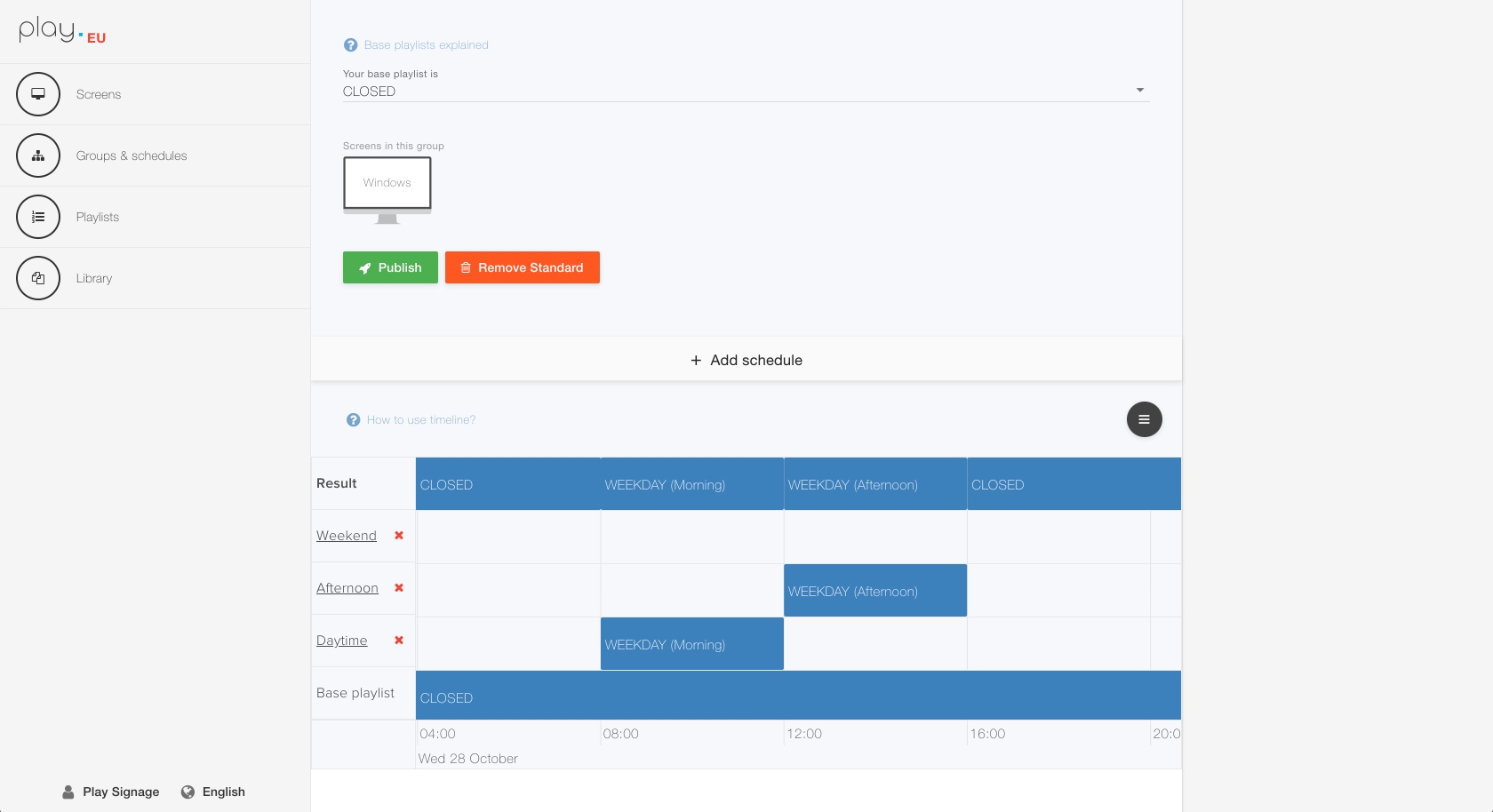 Adding schedules have  never been easier when using our timeline. You can add schedules based on time, days and dates.