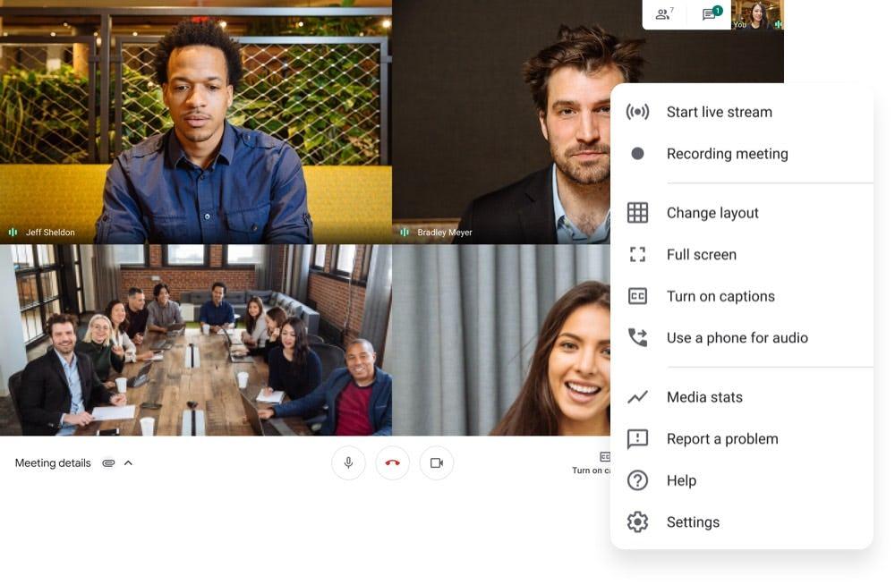 Google Meet Meeting Options