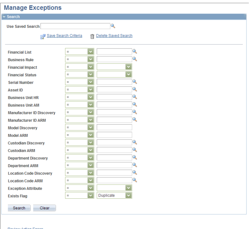 PeopleSoft IT Asset Management manage exceptions