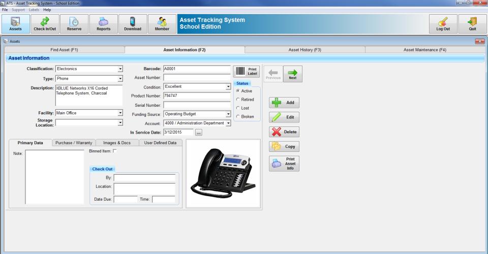 GigaTrak's Asset Tracking System asset information