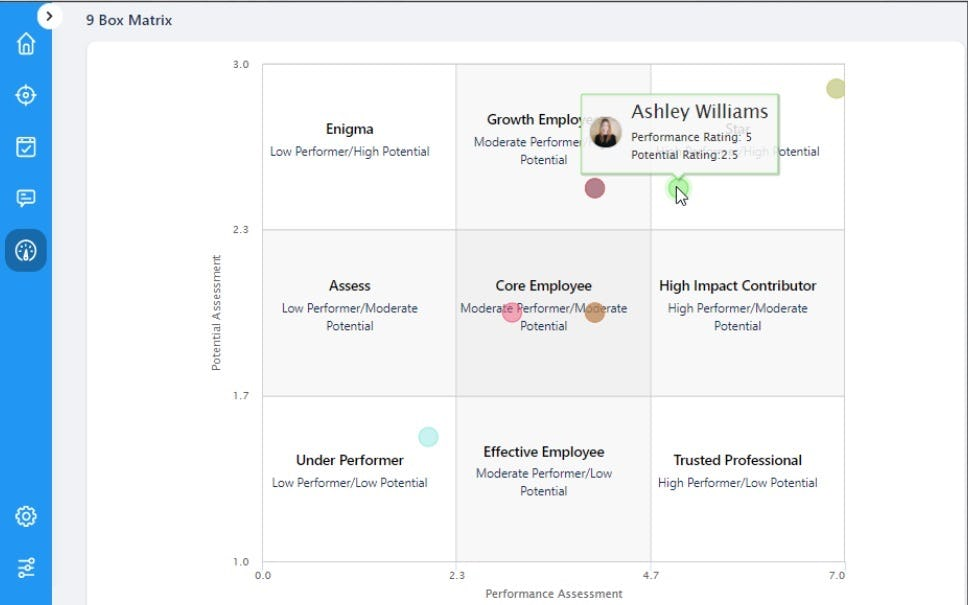Profit.co Software - Performance Management - 9 Box Matrix View