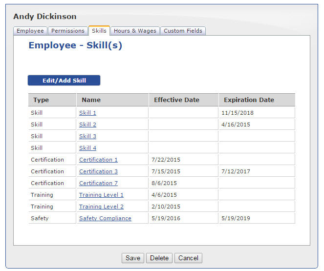 Employee skills and certifications can be tracked in ScheduleAnywhere
