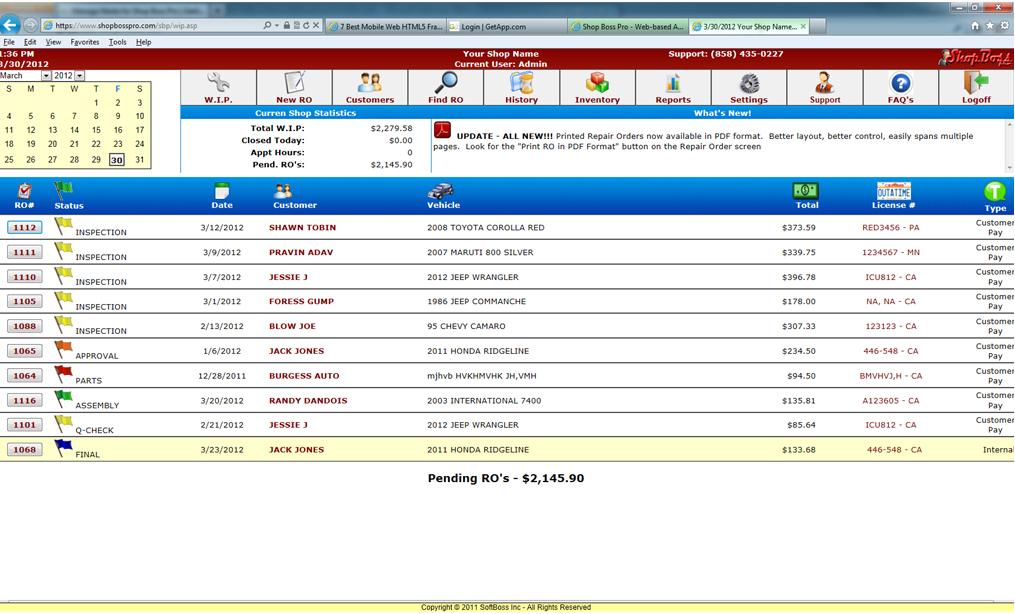 Shop Boss screenshot: Work In Process