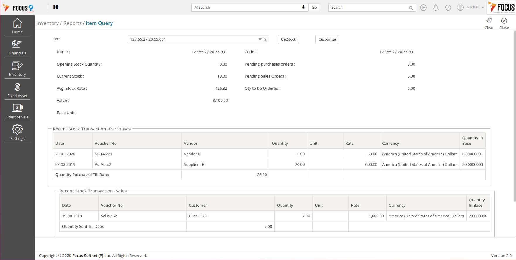 Focus 9 Software - FOCUS9 ERP Inventory Look-up