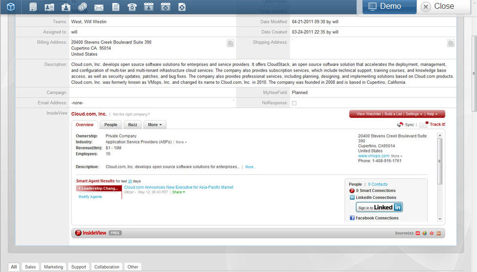 SugarCRM screenshot: Social CRM