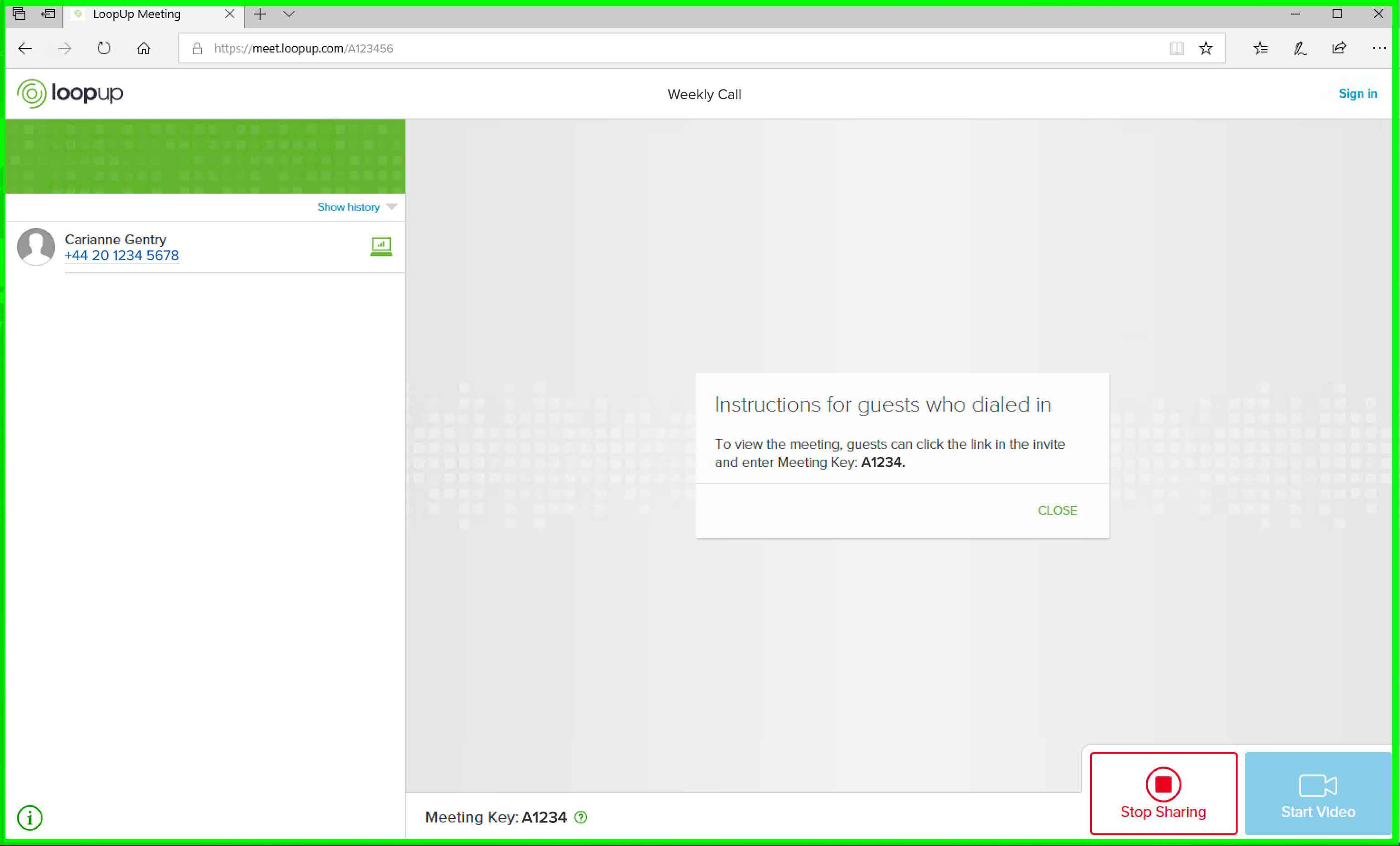 LoopUp screen sharing