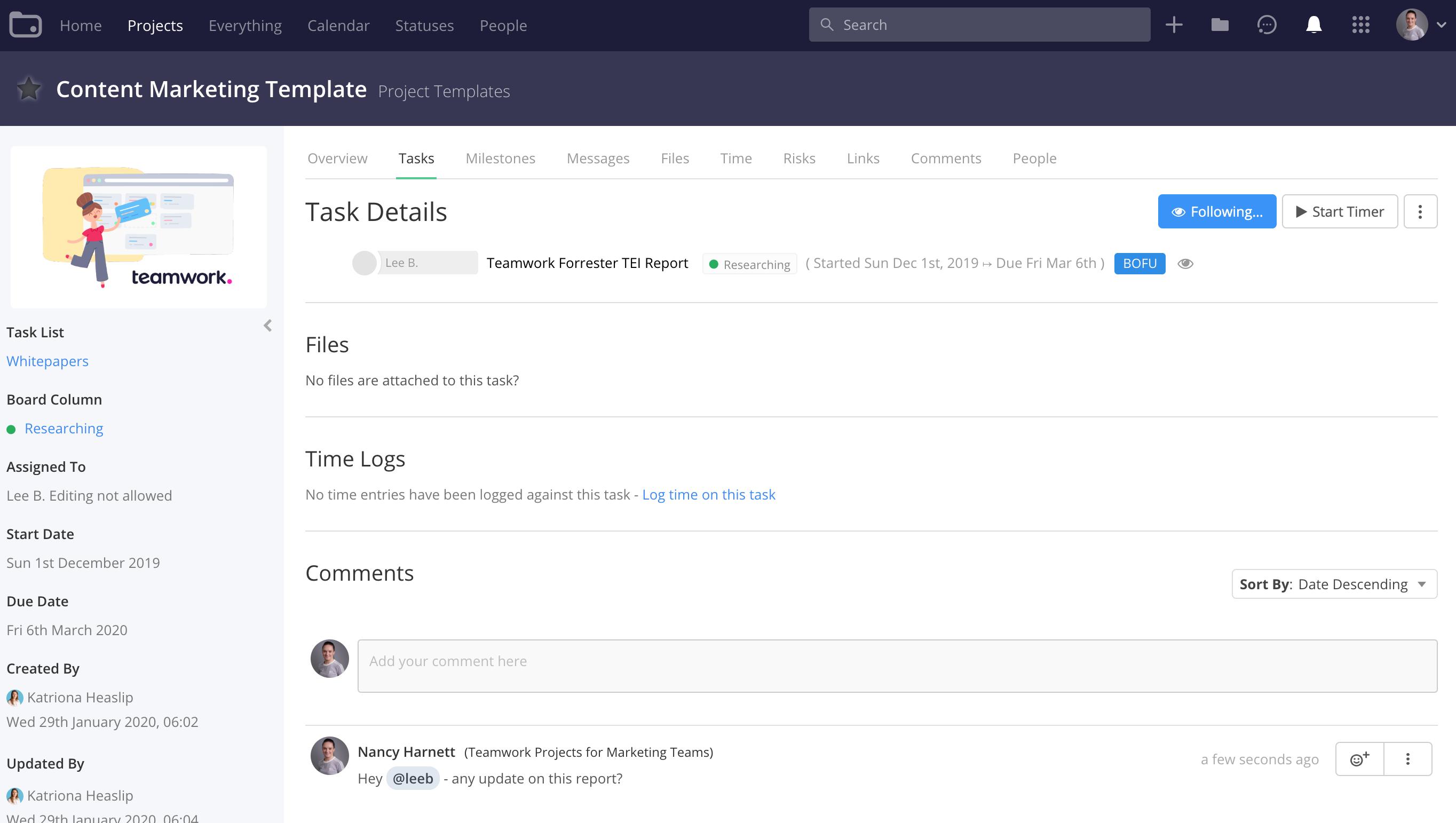 Task Details - Teamwork