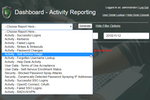 PortalGuard screenshot: Dashboard Report Drop-Down