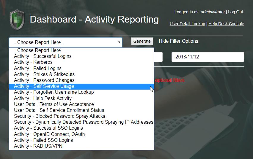 Dashboard Report Drop-Down