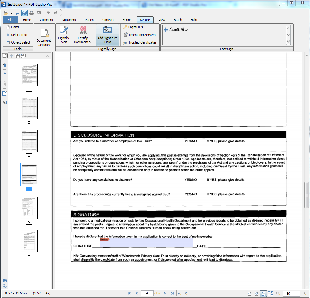 PDF Studio - add digital signature fields