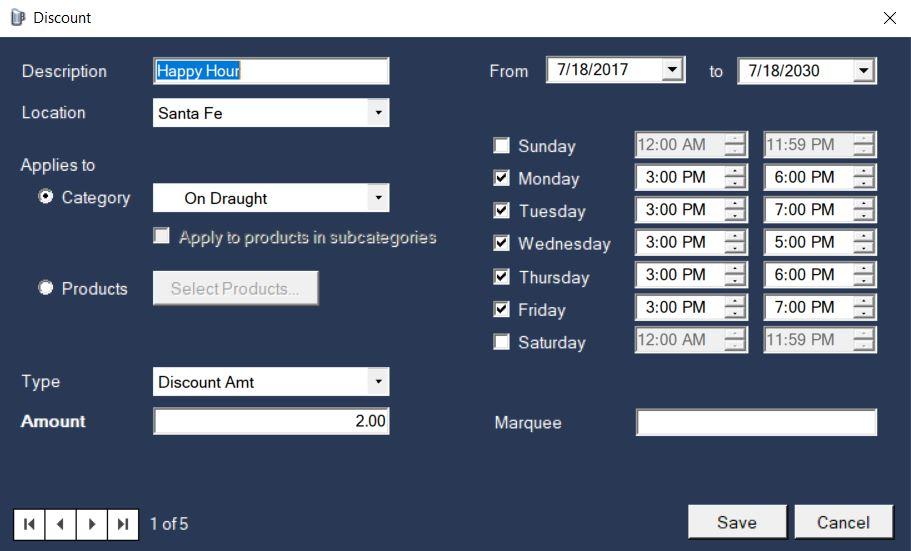 BrewPOS happy hour pricing