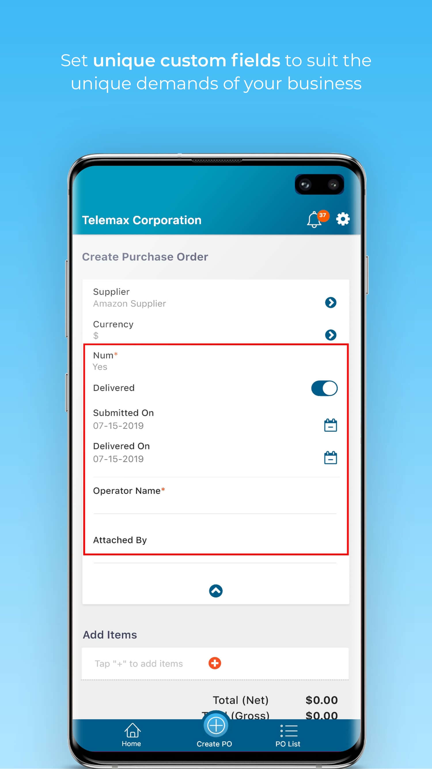 Unique purchase order and line item custom fields to suit your purchasing requirements.