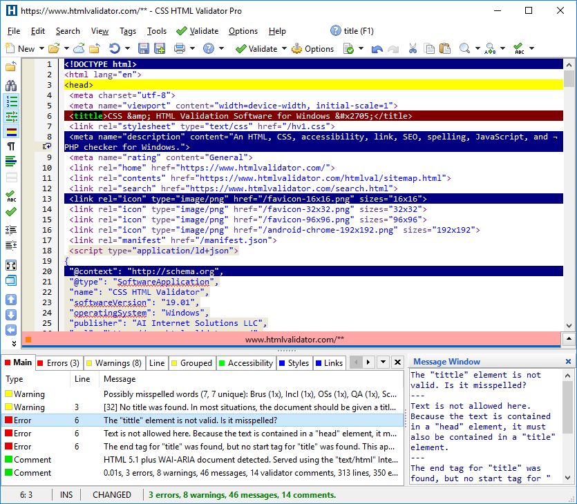 CSS HTML Validator showing HTML source and highlighting the lines with warnings and errors. The validator messages are shown at the bottom.