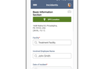 Vector EHS Management screenshot: Record initial incident information on or offline and use GPS location for precise data with the IndustrySafe Mobile App