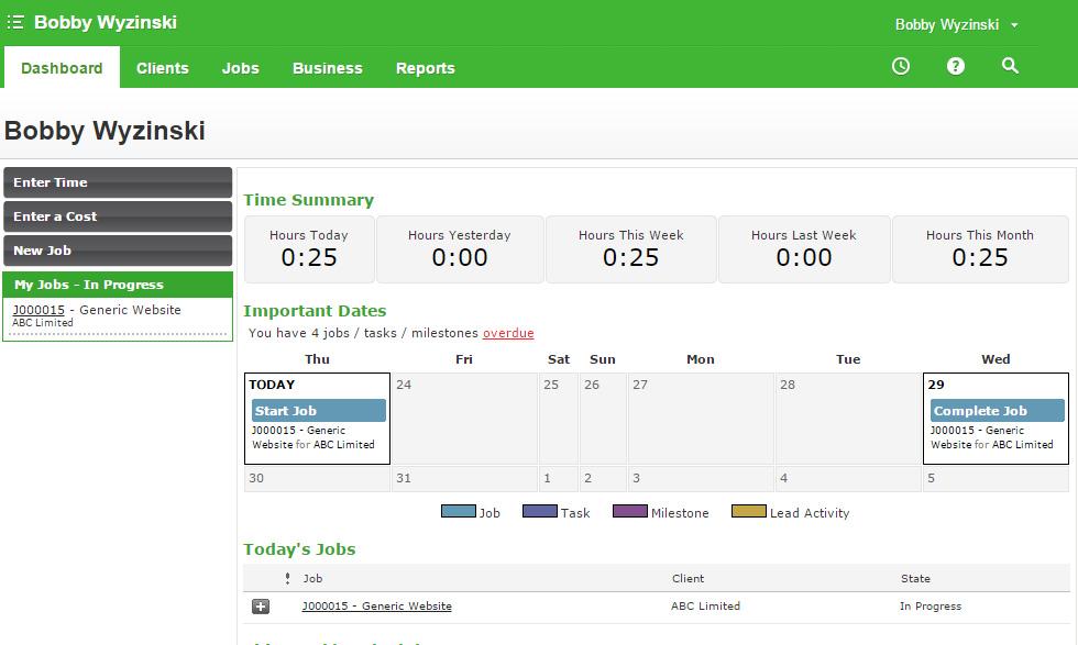 WorkflowMax Employee dashboard