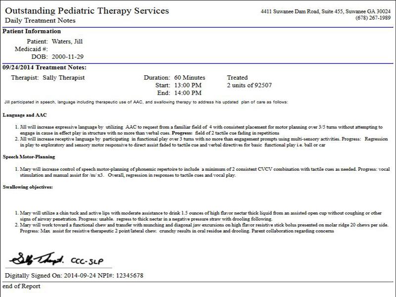 Treatment notes