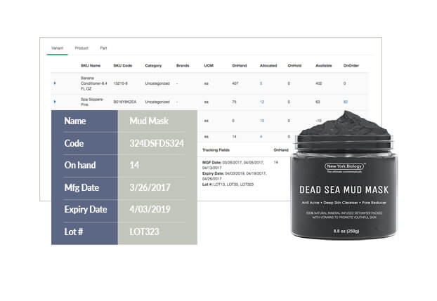 The manufacture date, expiry date, and lot number can be tracked for different product variants