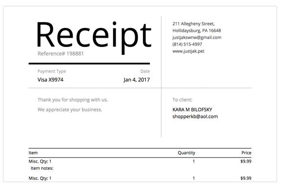 Create & manage digital receipts