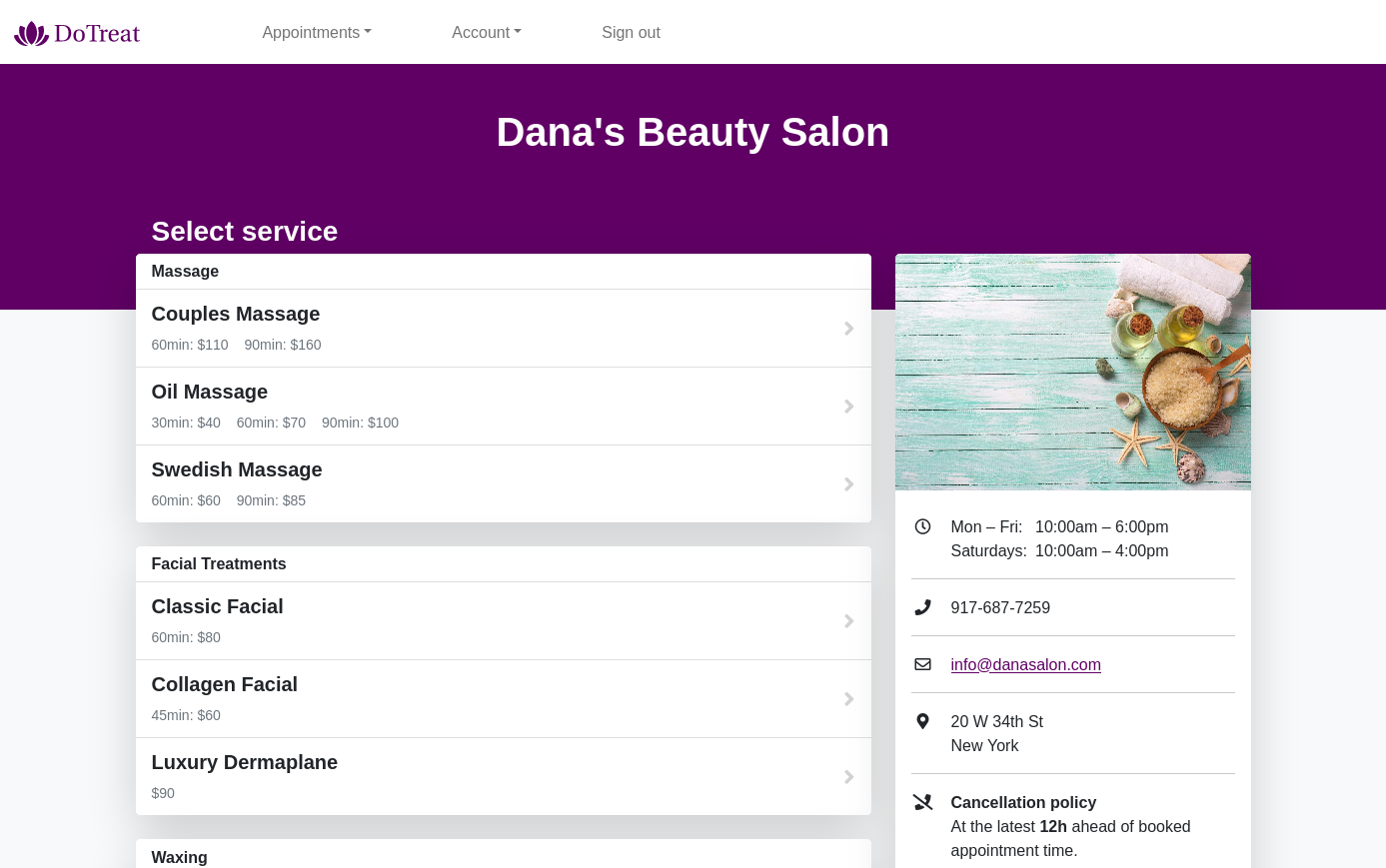 An example of the client self-booking page.