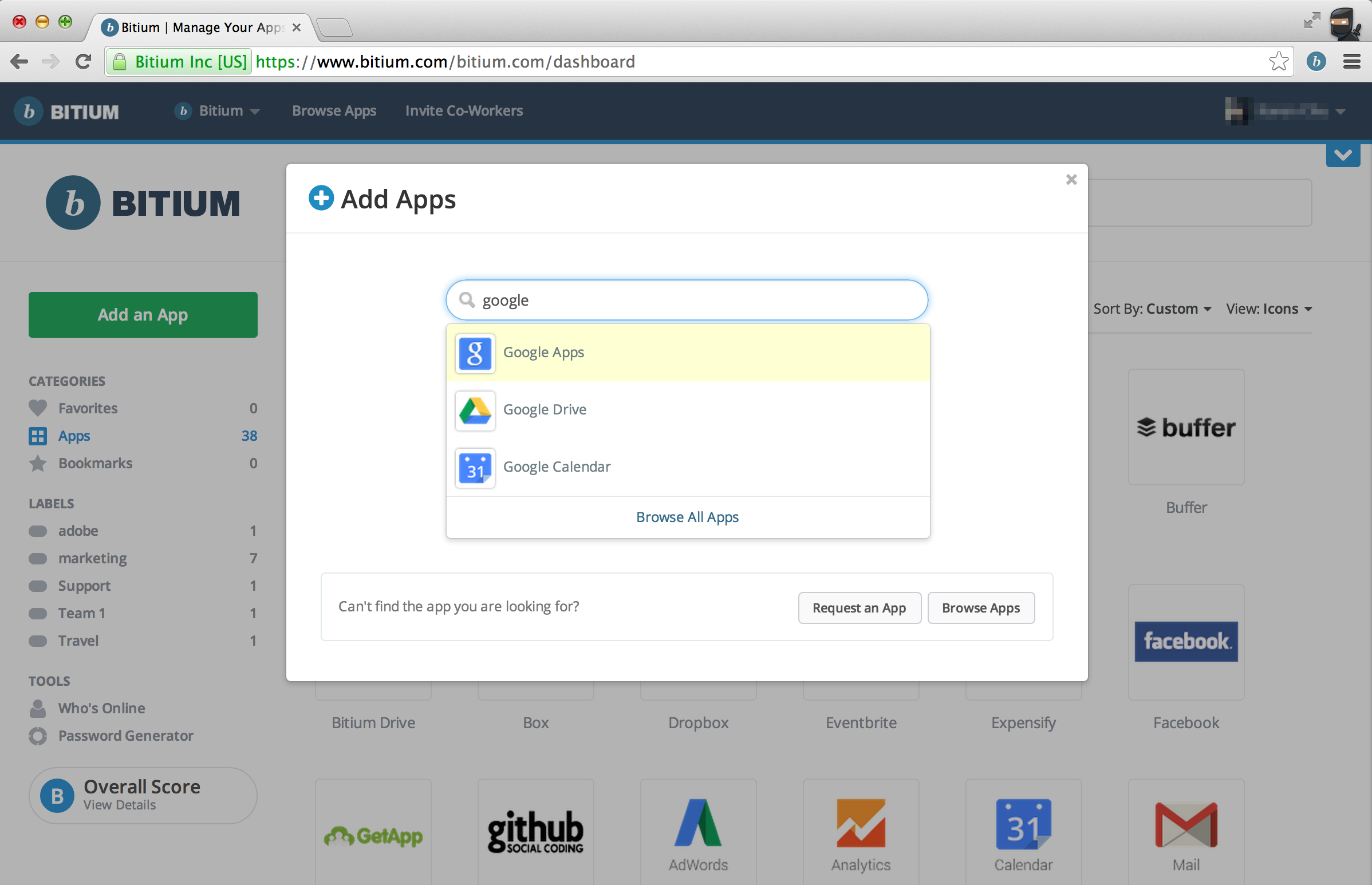 Bitium screenshot: Easily add an app to your Bitium Dashboard