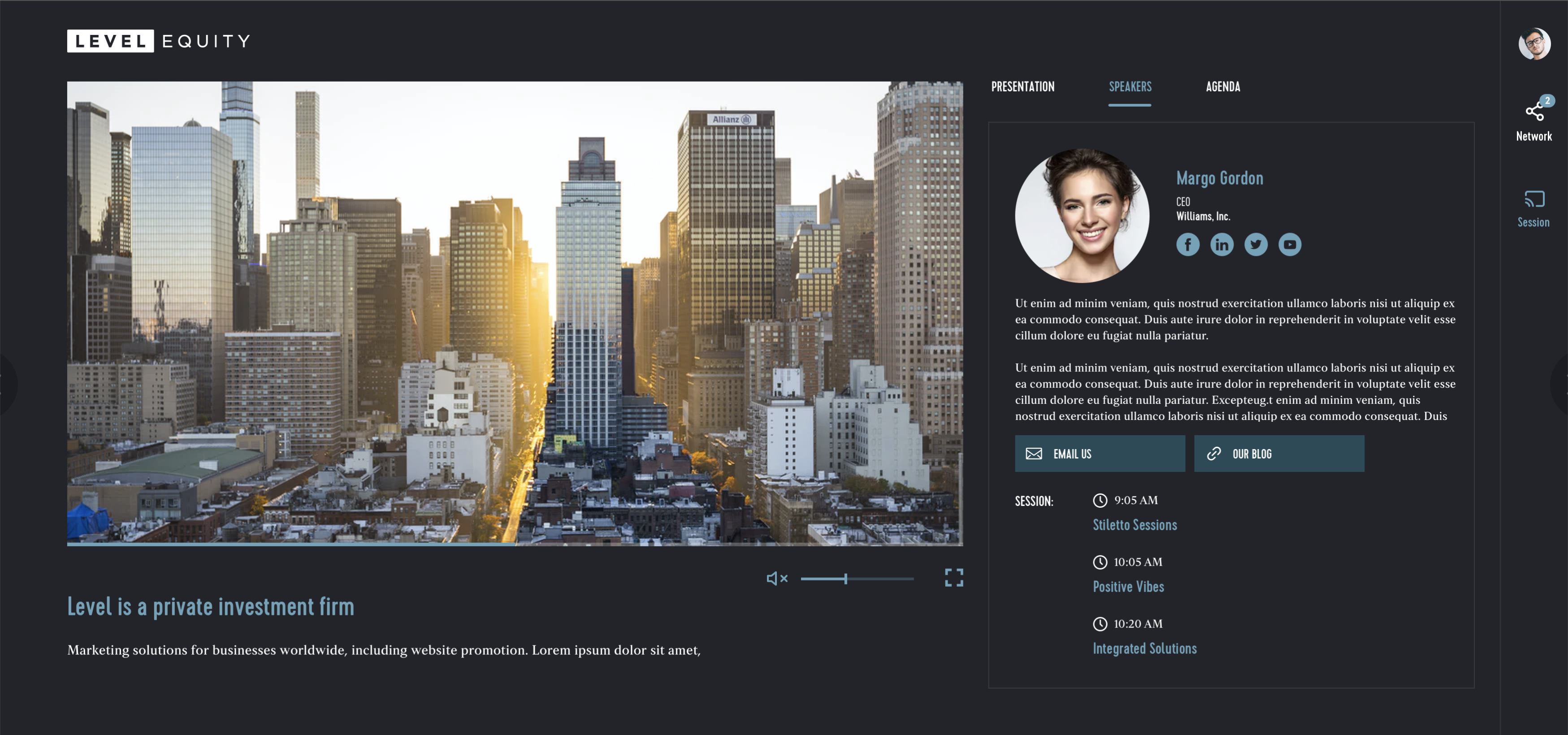 example of a simple Main Session page design, with Speaker & Agenda widgets.