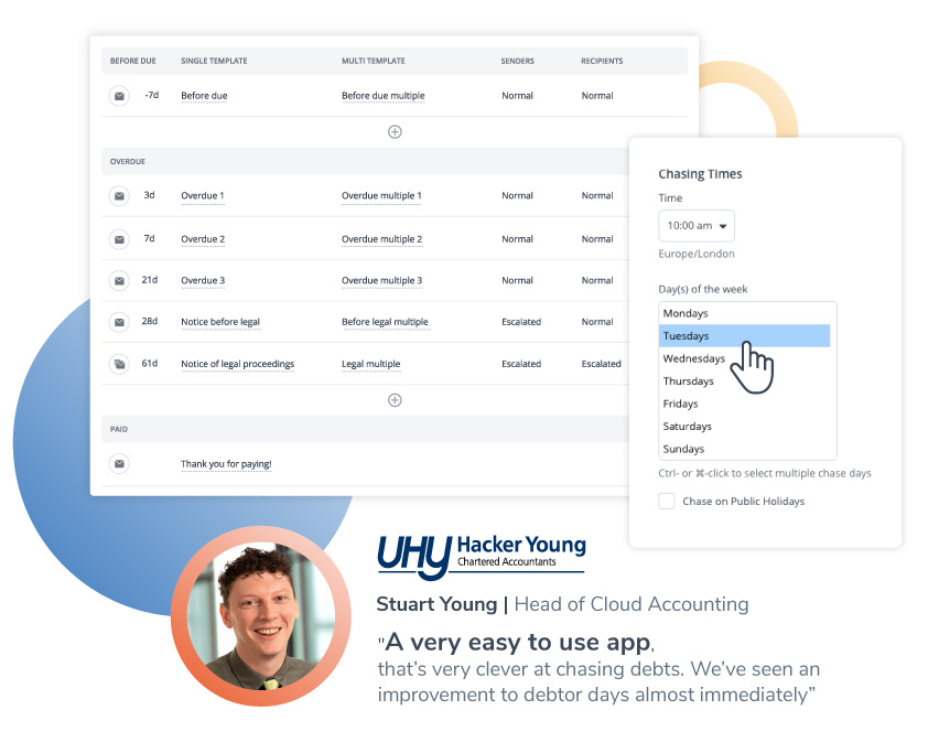 Schedule payment reminders at the best time: Create unlimited custom schedules that suit your different groups of customers, such as good payers, bad payers, or long-term clients, schedule as many payment reminders as you require, at intervals you choose