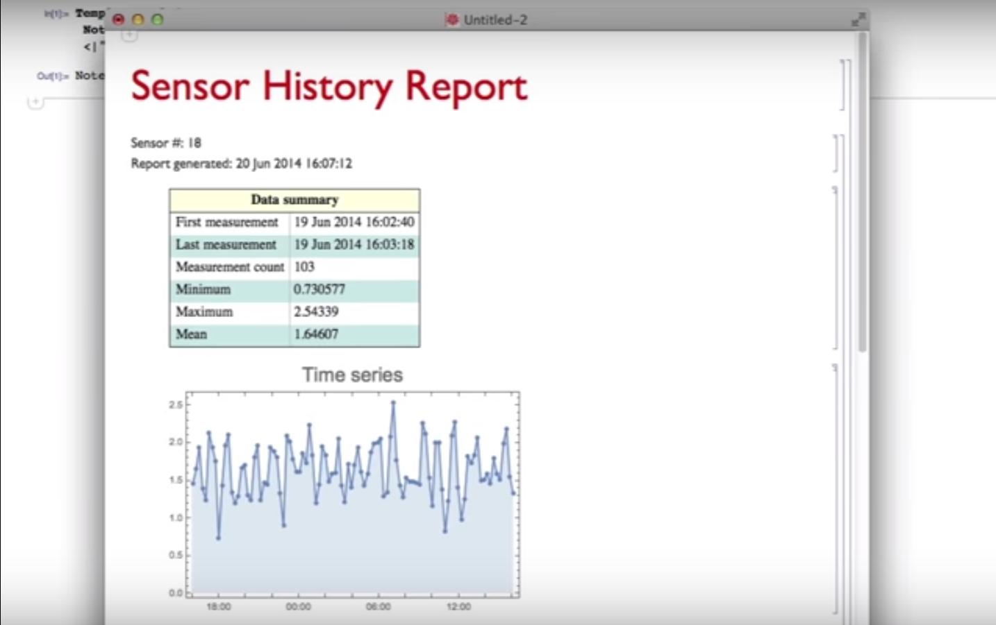 Wolfram Mathematica sensor history report