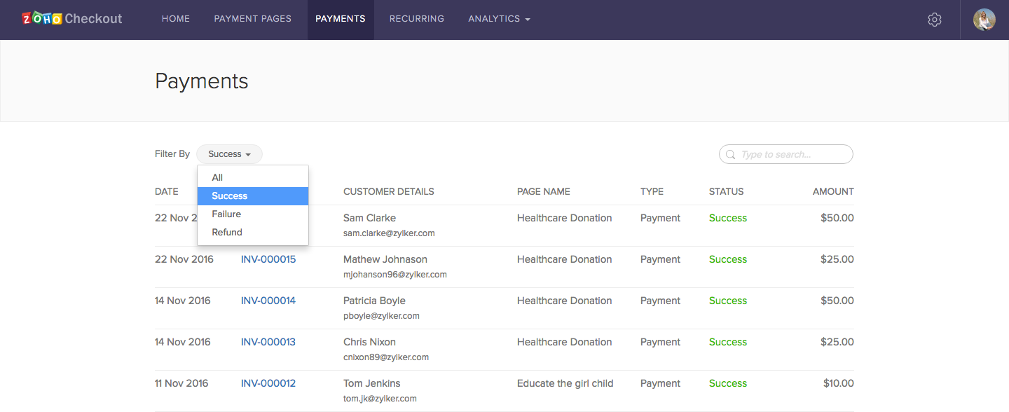 Users can generate custom payment reports, filtered by payment status