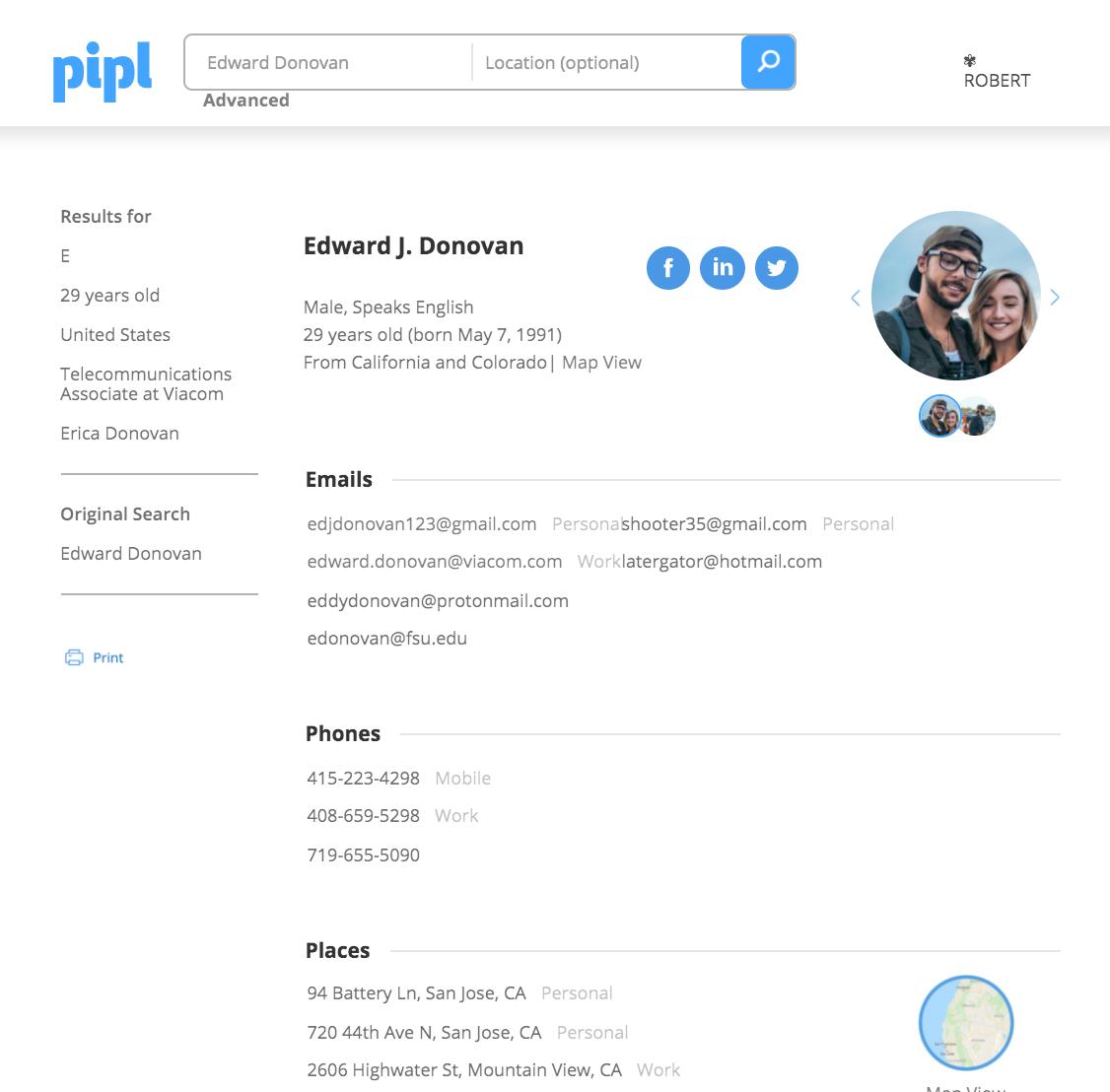 Pipl screenshot