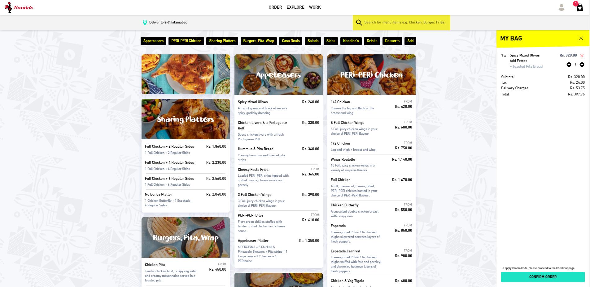 Nandos Pakistan - Ordering Website powered by Blink