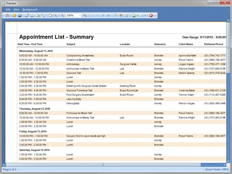 Appointment lists
