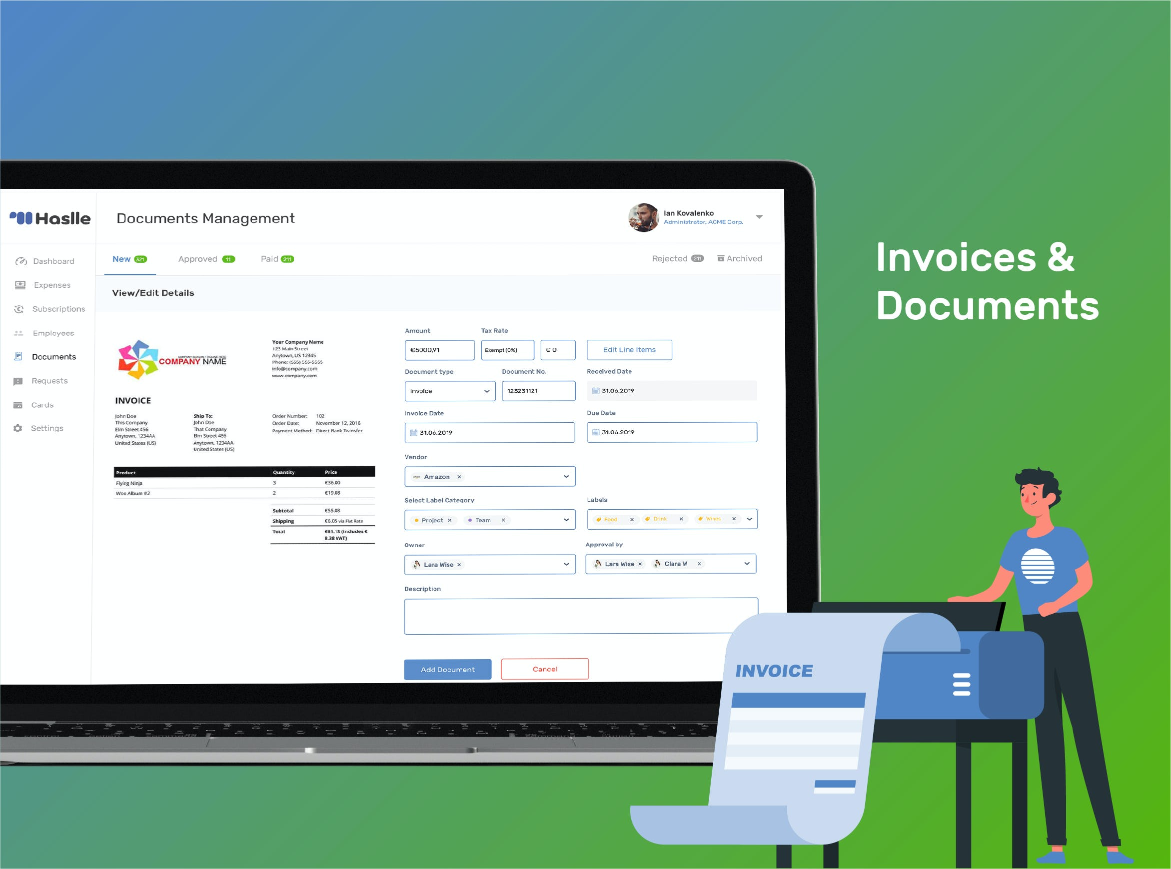 Haslle Software - Invoice Management and Documents Sharing regarding company spending