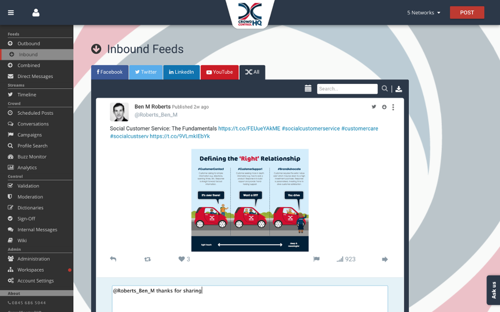 Receive social messages and all inbound, outbound and combined feeds
