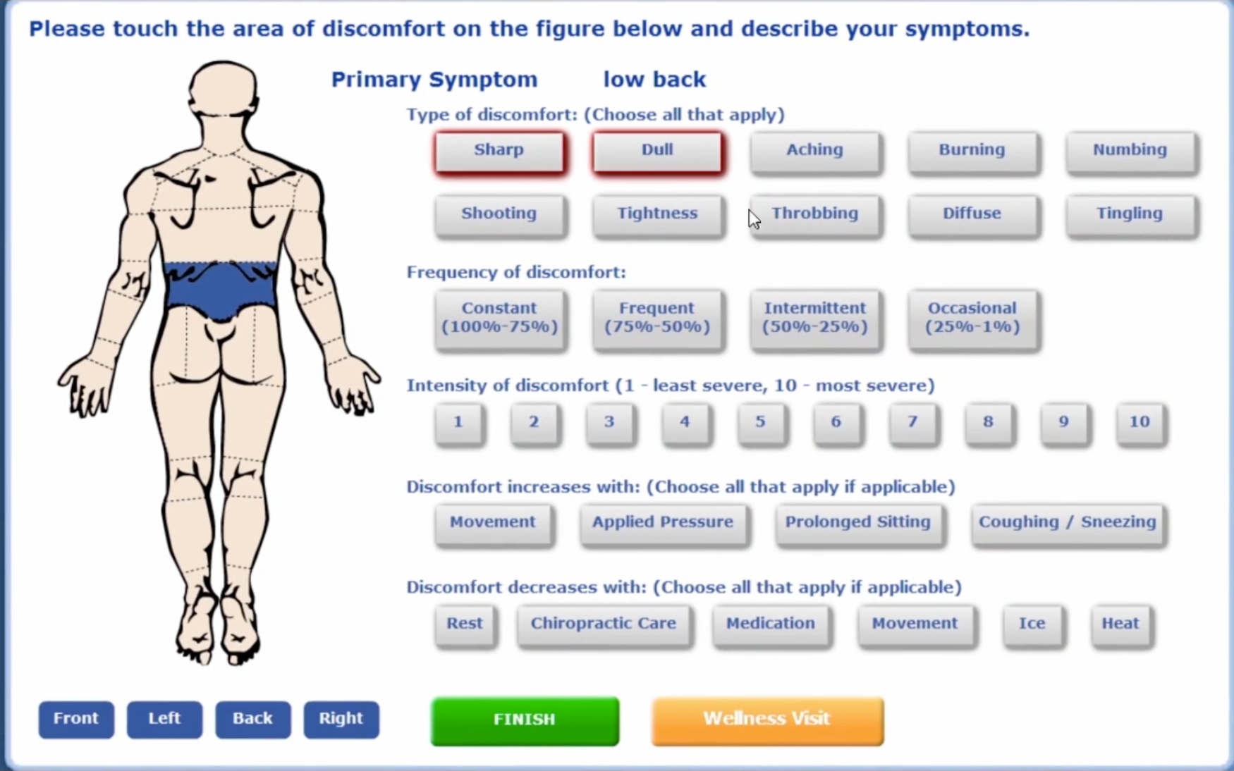 ChiroTouch Software - Symptom reporting