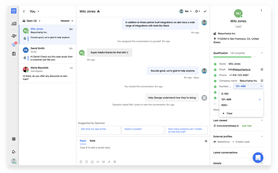 Intercom collaboration screenshot