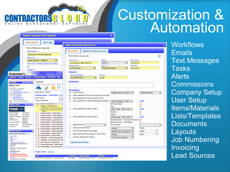 Contractors Cloud Software - Customization and automation