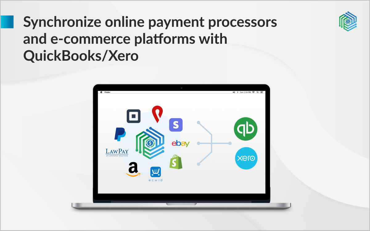 Synchronize online payment processors and e-commerce platforms with QuickBooks/Xero