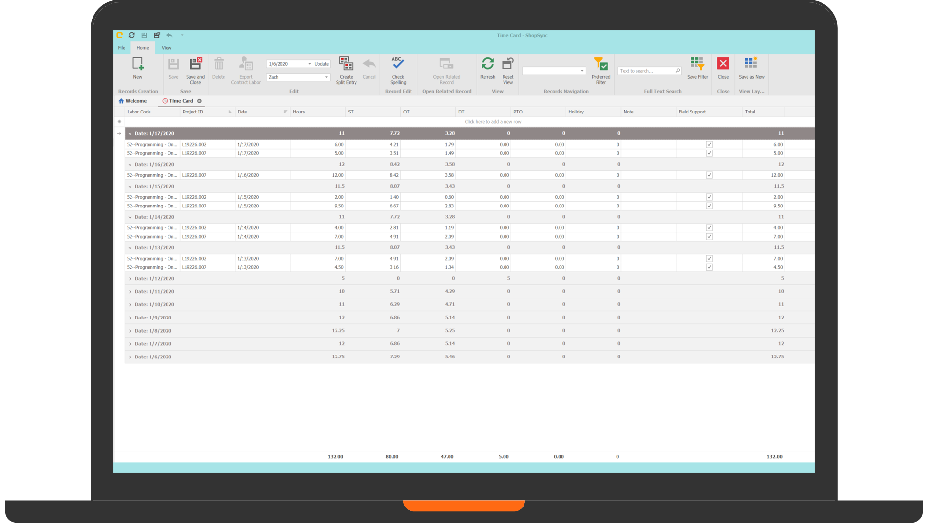 Time entry tracking for project managers